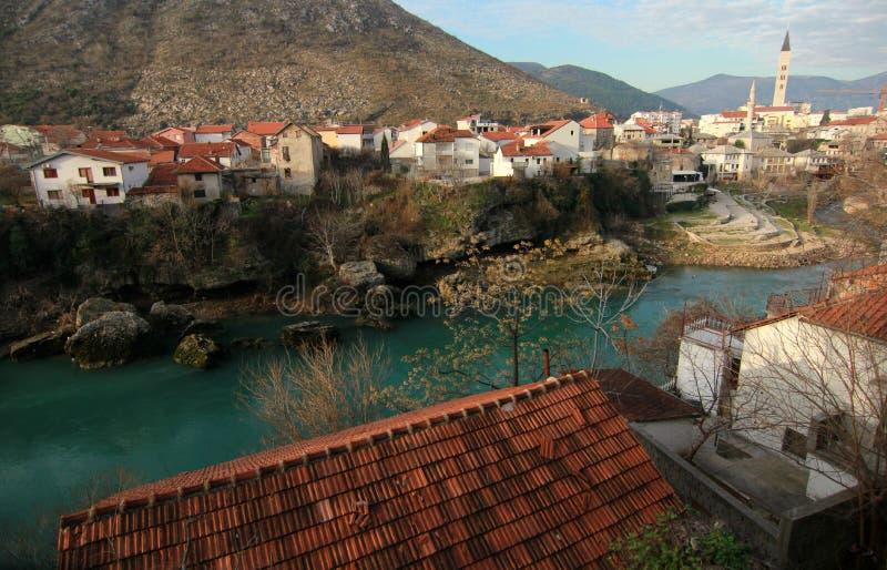 Mostar Bosnien i morgonen royaltyfria foton