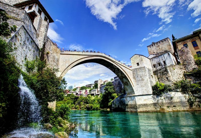 Mostar Bridge in Bosnia. Is a reconstruction of a 16th-century Ottoman bridge in the city of Mostar in Bosnia and Herzegovina royalty free stock photo
