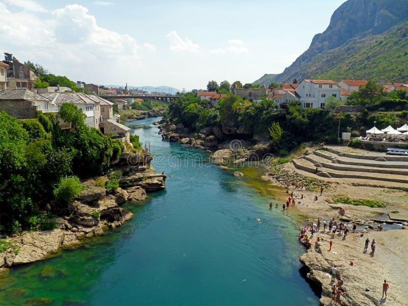 Mostar city and Neretva River. City of Mostar and Neretva river in Bosnia and Herzegovina royalty free stock photos