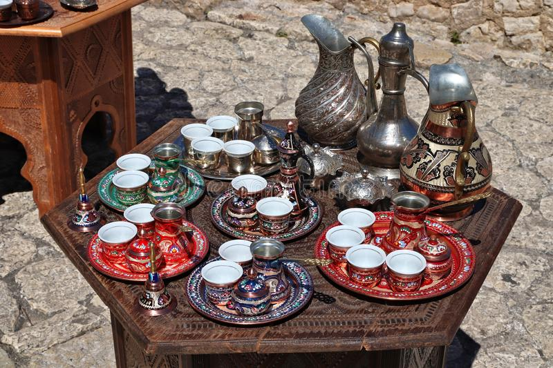 Mostar coffee pots. Mostar city in Bosnia and Herzegovina. Local traditional handicraft tea and coffee pots and cups (Turkish style royalty free stock photo