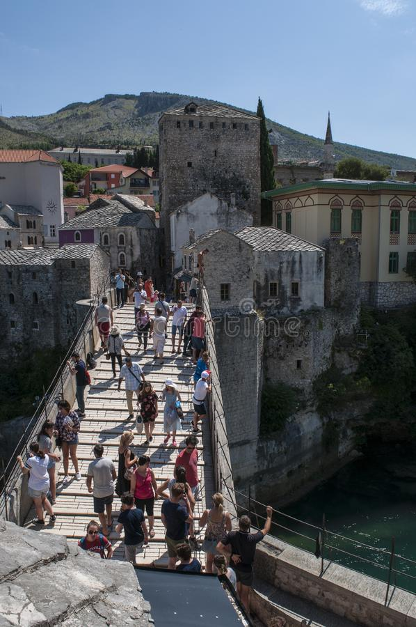 Mostar, Stari Most, Old Bridge, Bosnia and Herzegovina, Europe, old city, roofs, architecture, walking, skyline, tower, symbol stock photography