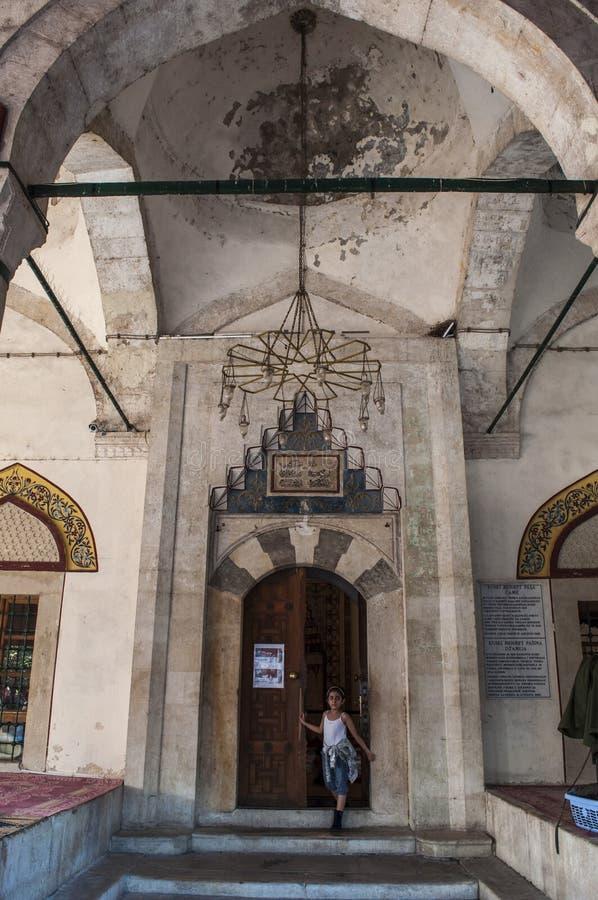 Mostar, Halbmond, Stern, Koski Mehmed Pasha Mosque, Minarett, Bosnien und Herzegowina, Europa, Islam, Religion, Ort der Verehrung stockbilder