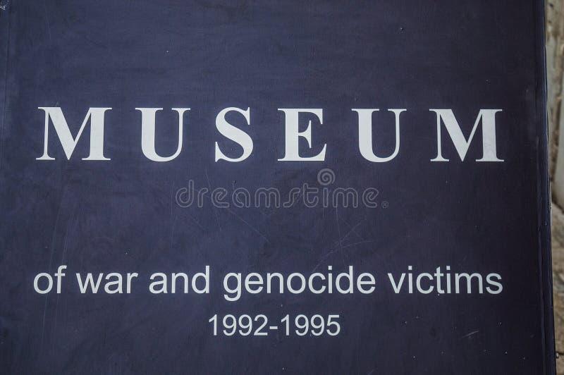 Mostar, Museum van Oorlog en Volkerenmoordslachtoffers 1992-1995, Bosnische Oorlog, oorlogsmisdaden, volkerenmoord, misdaden tege royalty-vrije stock foto