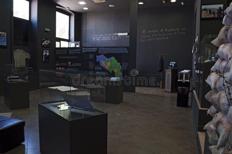 Mostar, Museum van Oorlog en Volkerenmoordslachtoffers 1992-1995, Bosnische Oorlog, oorlogsmisdaden, volkerenmoord, misdaden tege stock foto
