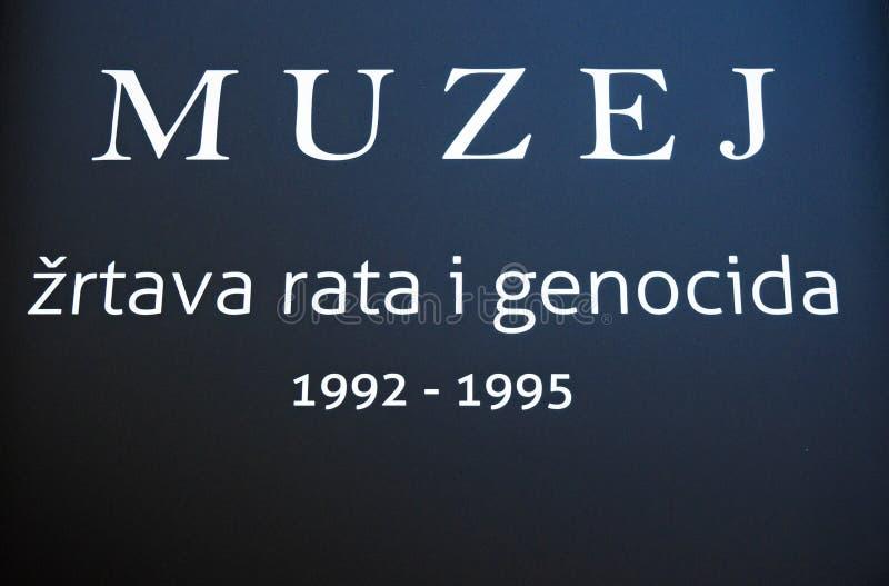 Mostar, Museum van Oorlog en Volkerenmoordslachtoffers 1992-1995, Bosnische Oorlog, oorlogsmisdaden, volkerenmoord, misdaden tege stock afbeelding