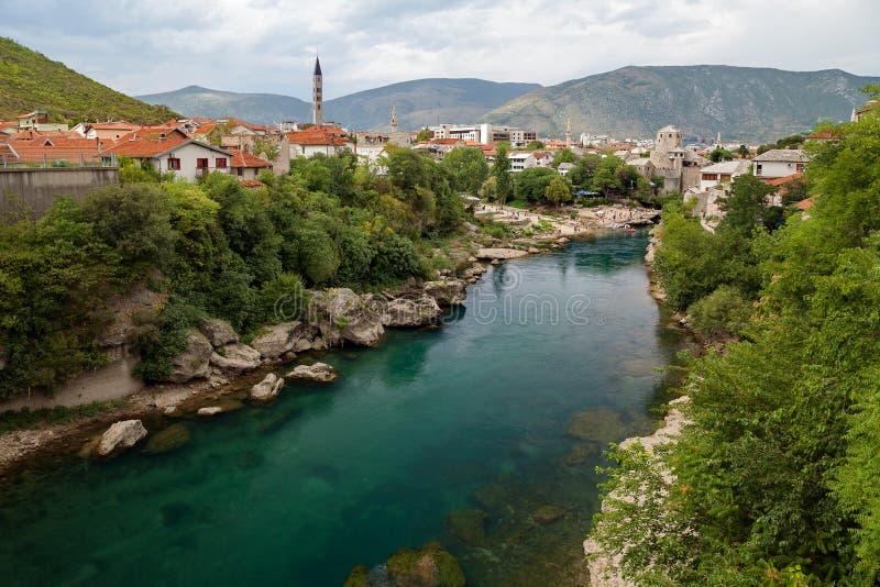 Mostar and Neretva river, Bosnia and Herzegovina. Mostar and Neretva river Bosnia and Herzegovina royalty free stock photos