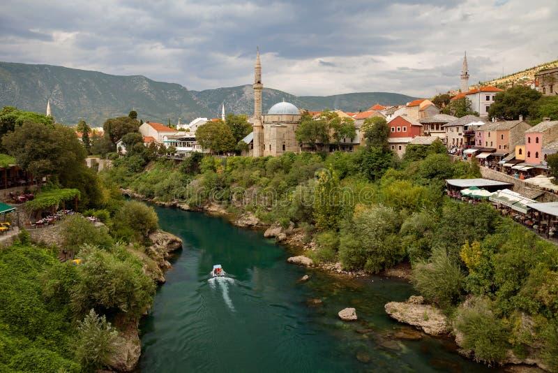 Mostar and Neretva river, Bosnia and Herzegovina. Mostar and Neretva river Bosnia and Herzegovina stock photos