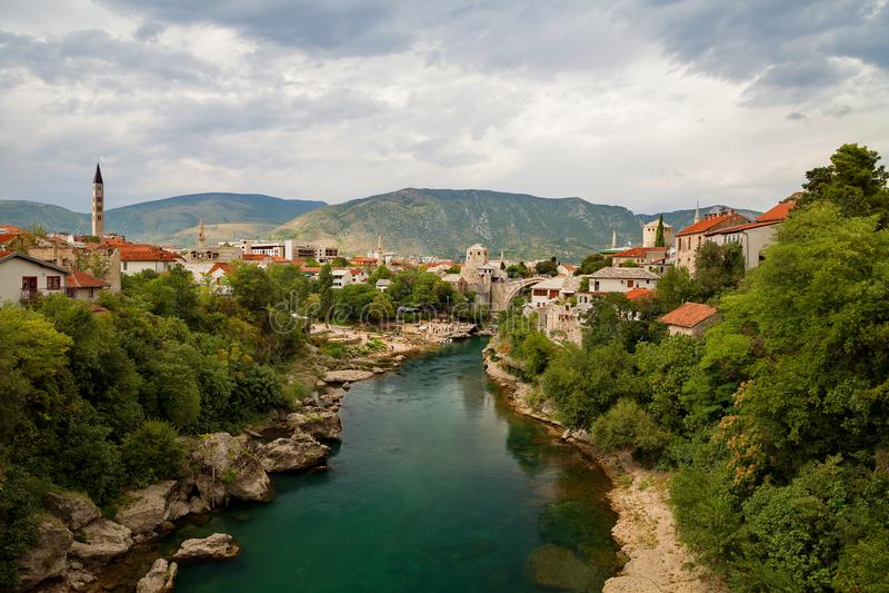 Mostar - Old Bridge and Neretva river, Bosnia and Herzegovina. Mostar - Old Bridge and Neretva river Bosnia and Herzegovina stock photography