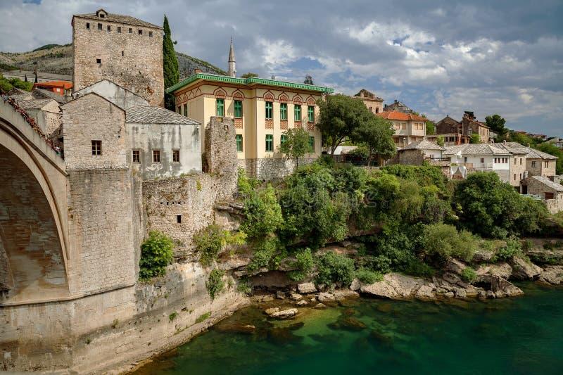 Mostar - Old Bridge and Neretva river, Bosnia and Herzegovina. Mostar - Old Bridge and Neretva river Bosnia and Herzegovina stock photo