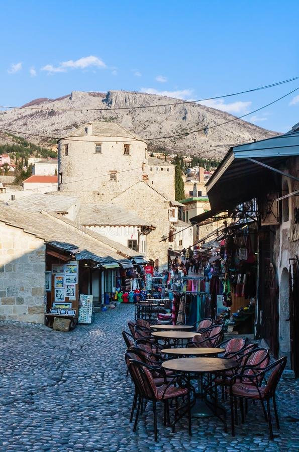 Mostar old town street with shops and historic architecture. Bosnia and Herzegovina royalty free stock photography