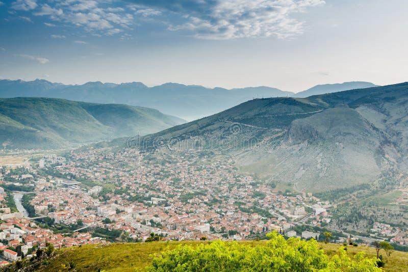 Mostar panoramautsikt, Bosnien royaltyfri fotografi