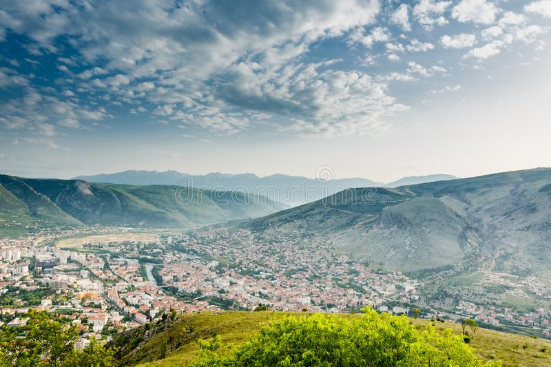 Mostar panoramic view, Bosnia. And Herzegovina royalty free stock image