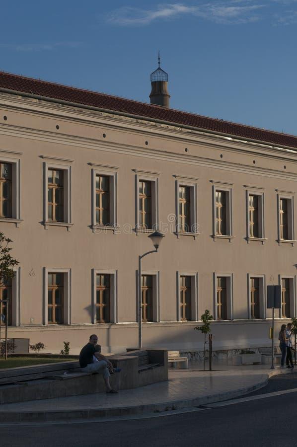 Mostar, reconstruction, palace, bombed, Bosnia and Herzegovina, Europe, city, street, architecture, walking, skyline. Bosnia, 5/07/2018: a palace near the Musala royalty free stock photo