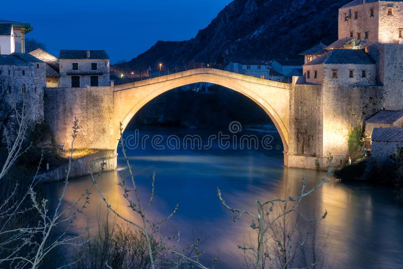 Stari Most - Iconic bridge in Bosnia. Mostar is situated on the Neretva River and is the fifth-largest city in the country. Mostar was named after the bridge royalty free stock photos
