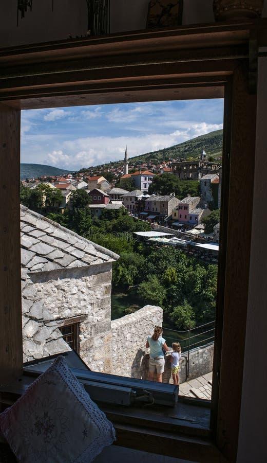 Mostar, Skyline, Dach, Moschee, Minarett, Bosnien und Herzegowina, Europa, Islam, Religion, Ort der Verehrung lizenzfreie stockbilder