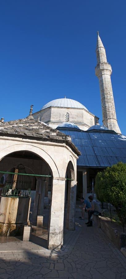 Mostar, Skyline, Koski Mehmed Pasha Mosque, Minarett, Bosnien und Herzegowina, Europa, Islam, Religion, Ort der Verehrung stockfotografie