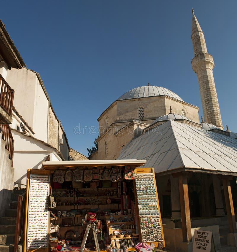 Mostar, Skyline, Koski Mehmed Pasha Mosque, Minarett, Bosnien und Herzegowina, Europa, Islam, Religion, Ort der Verehrung stockfoto