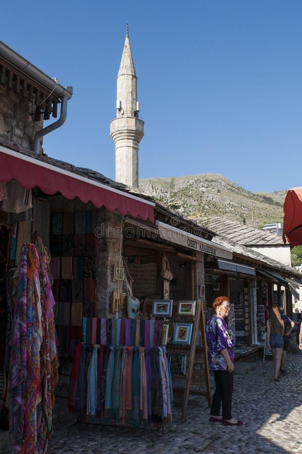 Mostar, Skyline, Moschee, Minarett, Basar, Bosnien und Herzegowina, Europa, Islam, Religion, Ort der Verehrung stockbilder