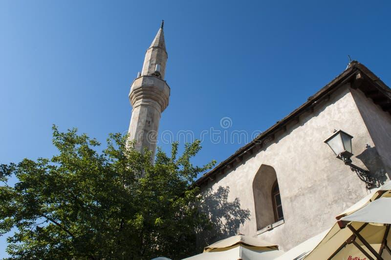 Mostar, Skyline, Moschee, Minarett, Bosnien und Herzegowina, Europa, Islam, Religion, Ort der Verehrung stockfotos