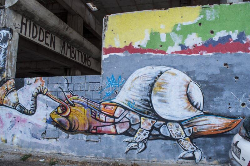 Mostar, Staklena Banka, banco de cristal viejo, pintada, mural, Bosnia y Herzegovina, Europa, arte de la calle, horizonte, guerra fotografía de archivo
