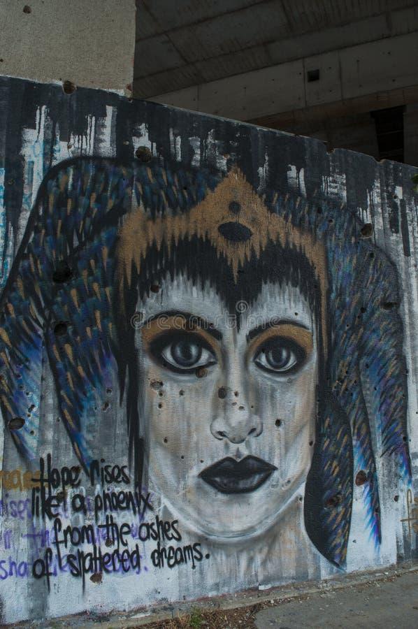 Mostar, Staklena Banka, banco de cristal viejo, pintada, mural, Bosnia y Herzegovina, Europa, arte de la calle, horizonte, guerra fotos de archivo