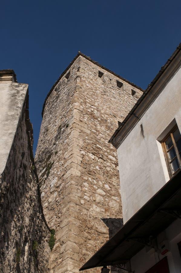 Mostar, Stari het meest, Oude Brug, Bosnië-Herzegovina, Europa, oude stad, daken, architectuur, het lopen, horizon, toren royalty-vrije stock foto's