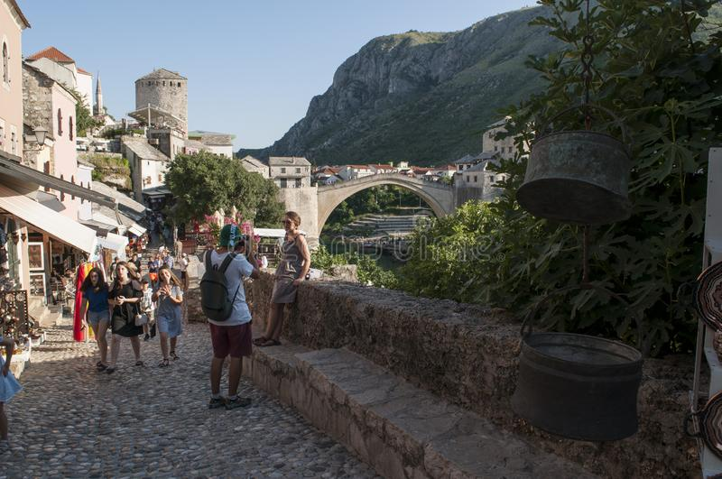 Mostar, Stari Most, Old Bridge, Bosnia and Herzegovina, Europe, old city, street, architecture, walking, skyline, bazaar stock image