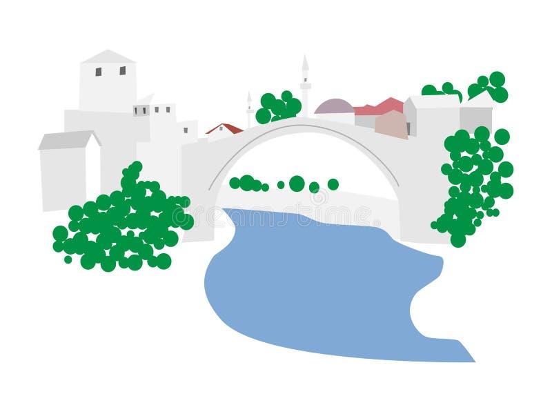 Mostar, vecchia illustrazione della città illustrazione vettoriale