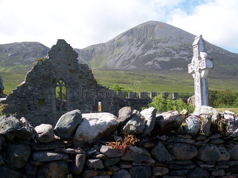 Mosteiro de Murrisk com Croagh Padraig foto de stock