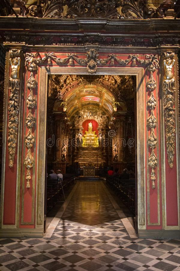 The Mosteiro de Sao Bento, Rio de Janeiro, Brazil. Rio de Janeiro, Brazil - July 7, 2015: The monastery Mosteiro de São Bento, baroque architecture at Rio de stock photo