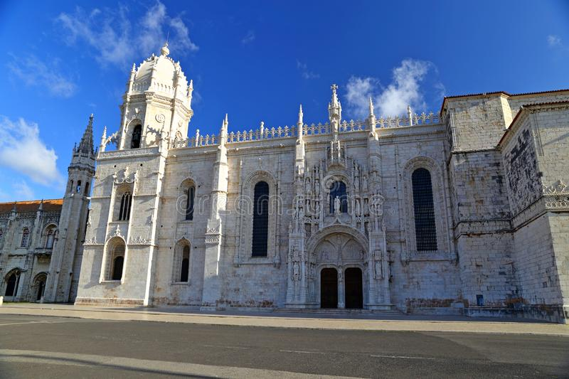 Mosteiro dos Jeronimos in Belem in Lisbon, historic monastery in Portugal UNESCO World Heritage. Site stock photo