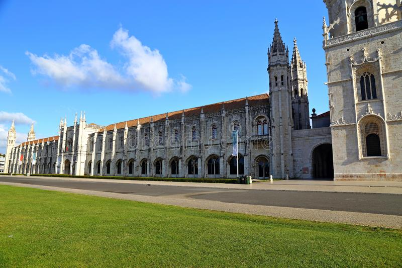 Mosteiro dos Jeronimos in Belem in Lisbon, historic monastery in Portugal UNESCO World Heritage. Site royalty free stock photography