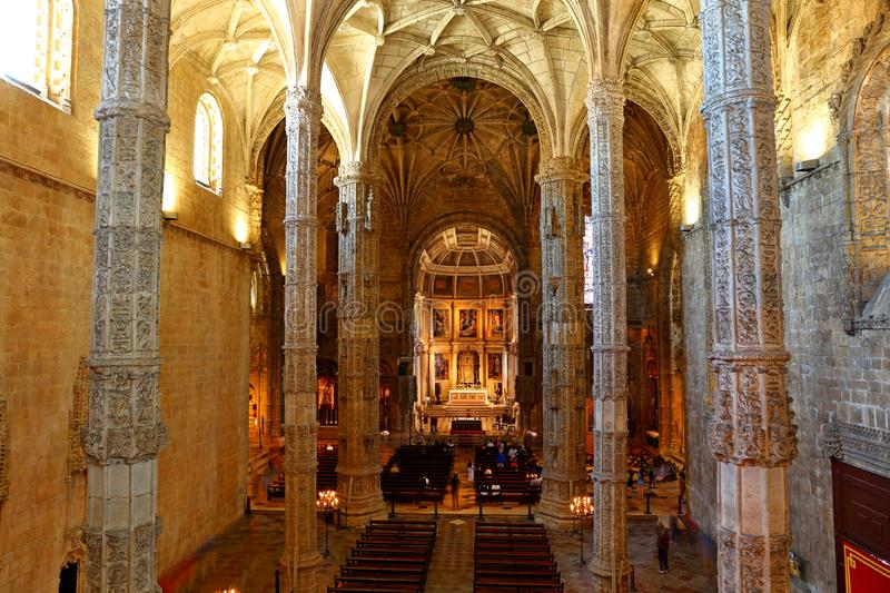 Mosteiro dos Jeronimos in Belem in Lisbon, historic monastery in Portugal UNESCO World Heritage. Site stock image