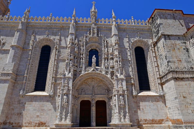 Mosteiro dos Jeronimos in Belem in Lisbon, historic monastery in Portugal UNESCO World Heritage. Site royalty free stock photos