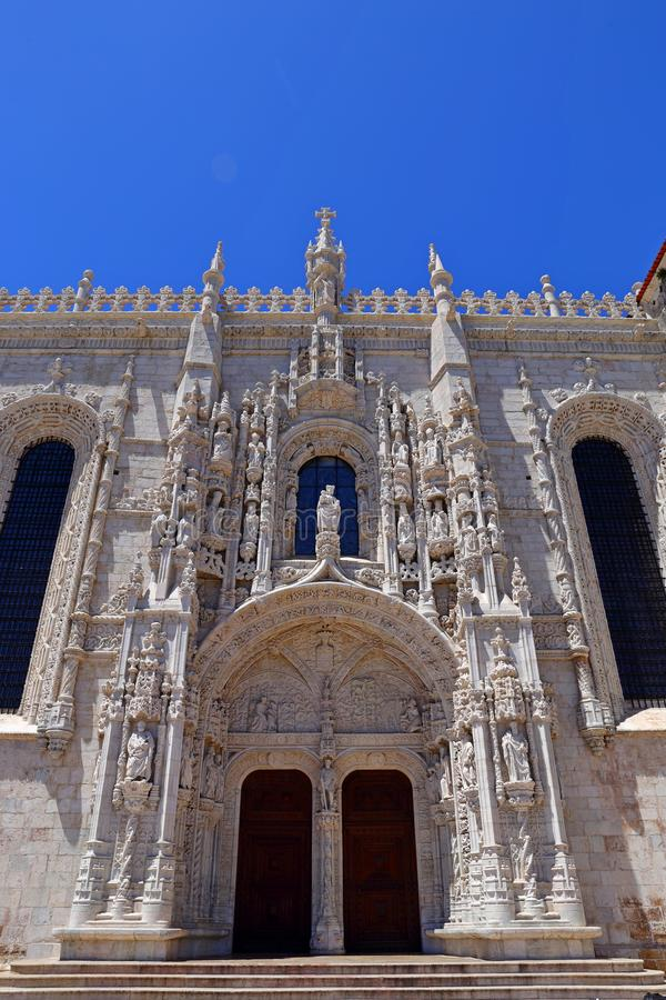 Mosteiro dos Jeronimos in Belem in Lisbon, historic monastery in Portugal UNESCO World Heritage. Site stock photos