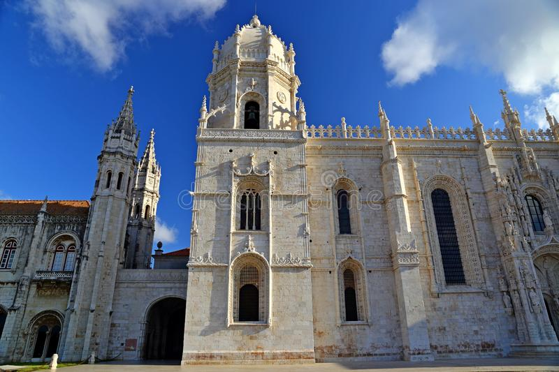 Mosteiro dos Jeronimos in Belem in Lisbon, historic monastery in Portugal UNESCO World Heritage. Site royalty free stock images
