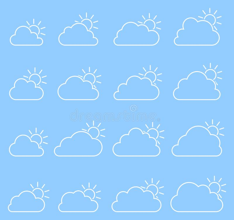 Mostly cloudy icon on blue background vector illustration