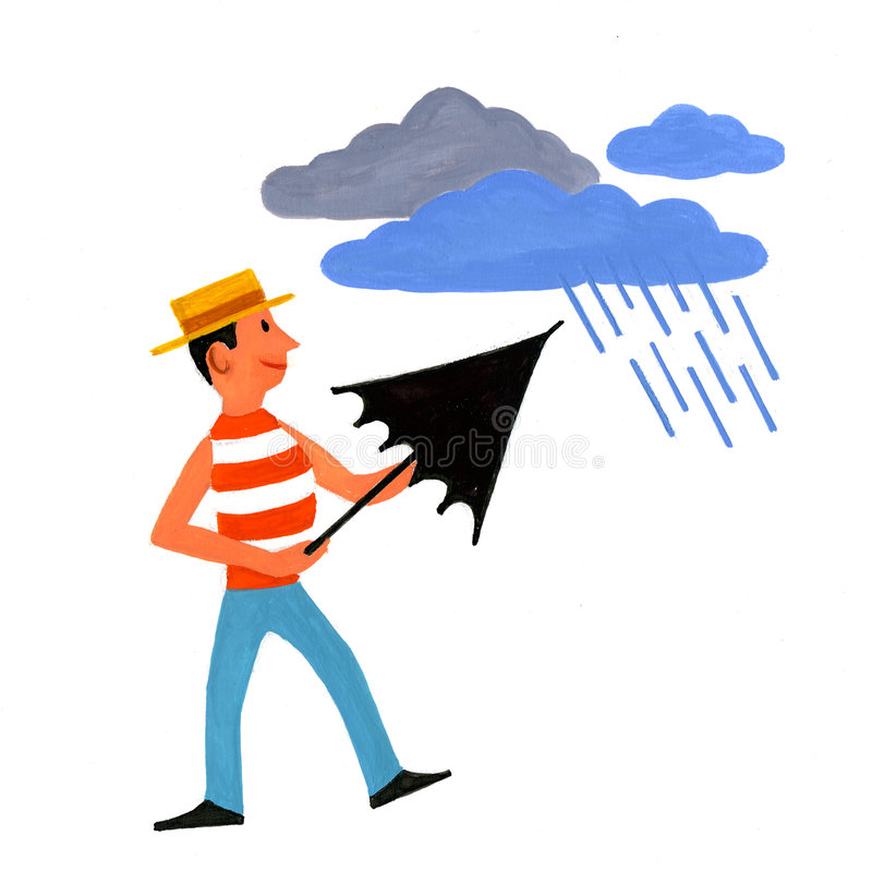 mostly cloudy and rain vector illustration