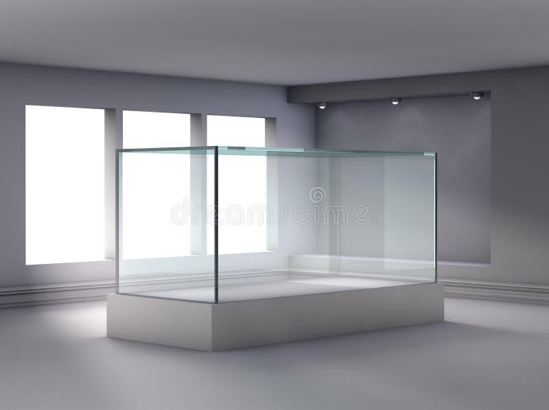 mostra 3d e ameia de vidro com projectores imagens de stock