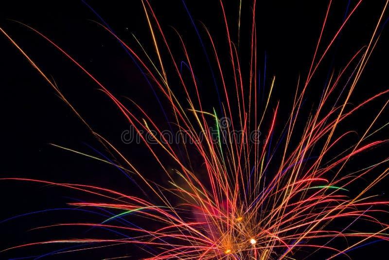 Mostra aérea dos fogos-de-artifício foto de stock