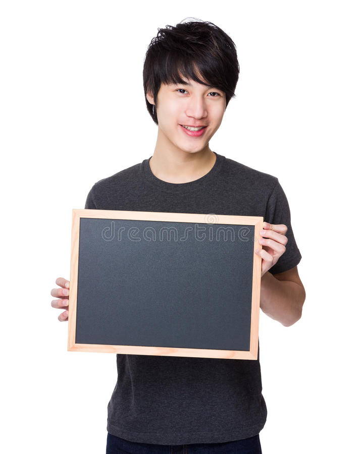 Mostra asiática do homem com quadro foto de stock royalty free