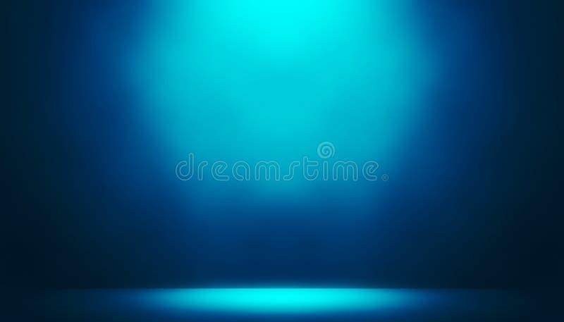 Mostra azul do projetor no fundo do entretenimento do estúdio da fase ilustração stock