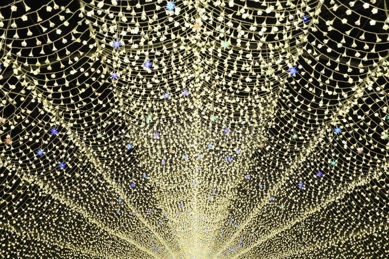 Mostra clara do túnel da iluminação em Nabana nenhum sato fotografia de stock