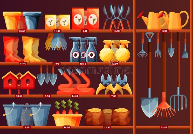 Mostra com acessório do jardim, equipamento na loja ilustração stock