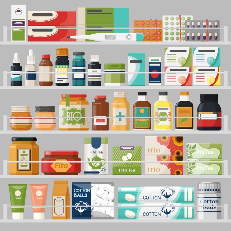Mostra com as prateleiras na drograria com comprimidos, chá ilustração royalty free