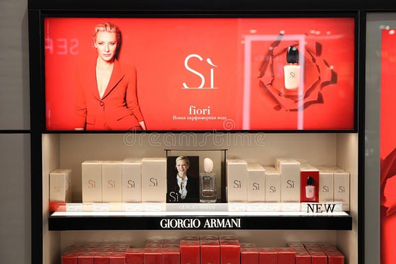 Mostra da campanha de publicidade da fragr?ncia de Giorgio Armani Si com Cate Blanchett moscow 20 03 2019 fotografia de stock