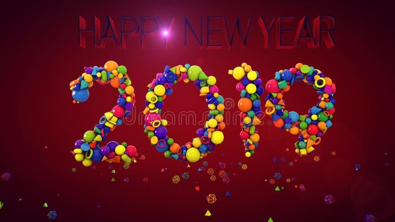 Mostra 2019 das bolas do ano novo ilustração do vetor