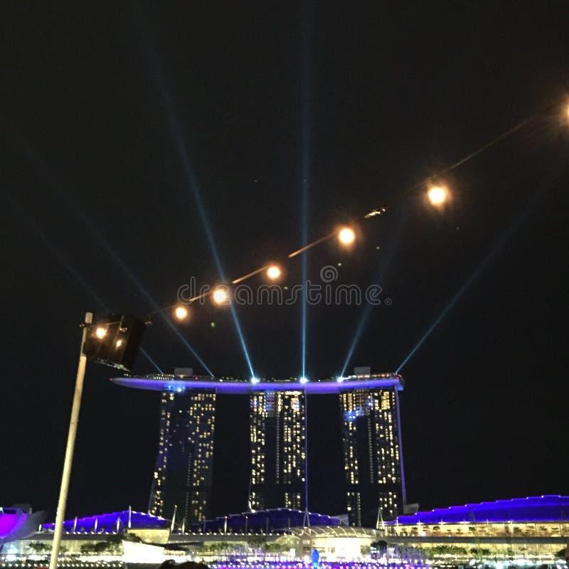 Mostra de Marina Bay Music e da luz imagens de stock