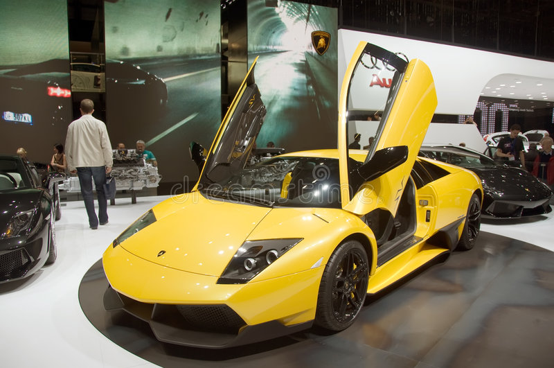Mostra de motor 2009 de Genebra - Lamborghini Murcialago imagens de stock royalty free