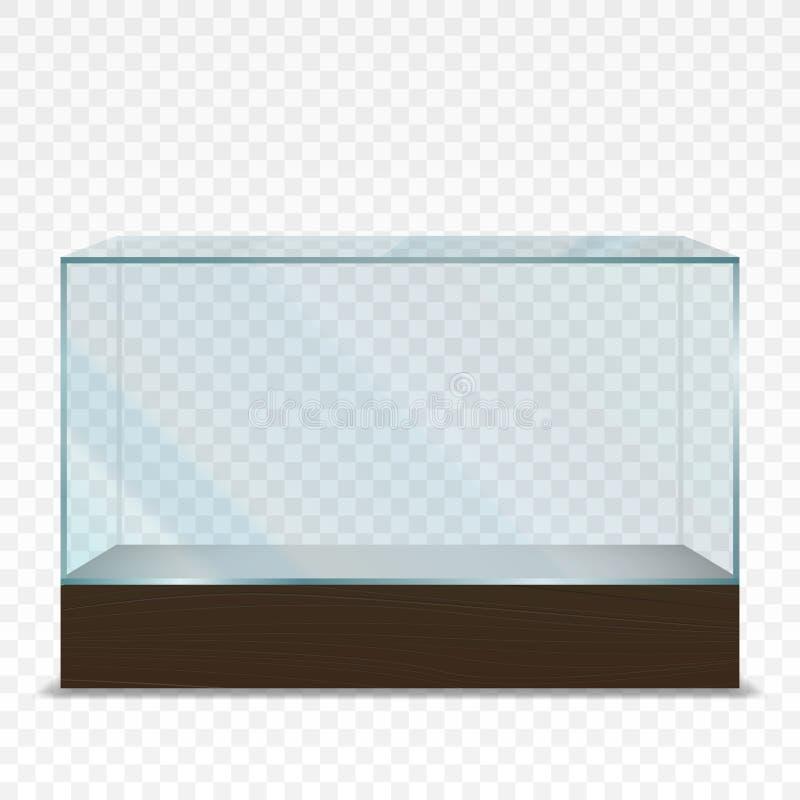 Mostra de vidro horizontal transparente vazia ilustração royalty free